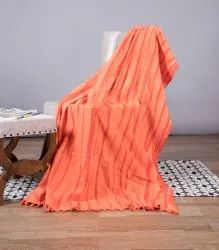 Orange Striped Printed Cotton Sofa Throw