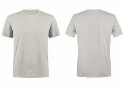 Round Neck T Shirt Plain White Melange
