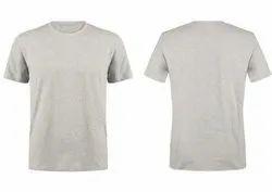 Round Neck T Shirt Plain White Melange