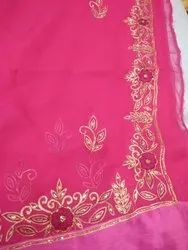 Embroidered Casual Wear SST Chiffon Saree, With blouse piece, 6.5 m