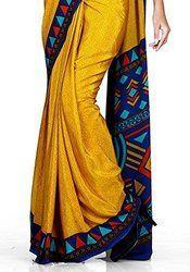 Yellow Uniform Plain Saree