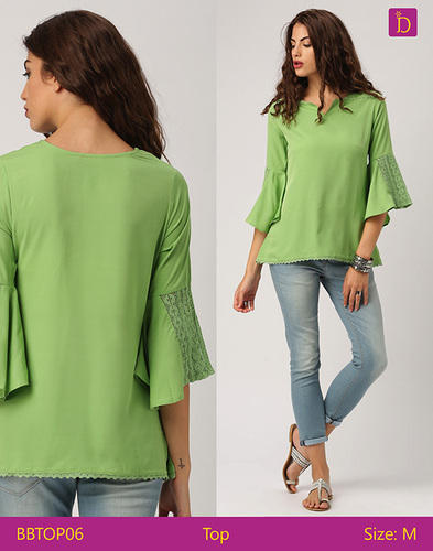 ebc328c5b0add Olive Poly Crepe Ladies Blouses   Tops Bell Sleeves Top With Lace Detailing  Loose Sleeveless Top