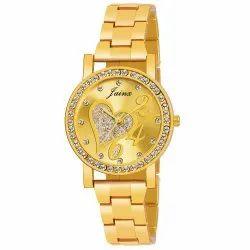 Jainx Beautiful Golden Analogue Watch for Women & Girls JW604