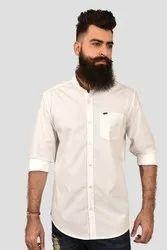 Casual Threads Mandarin Collar White Plain Shirt