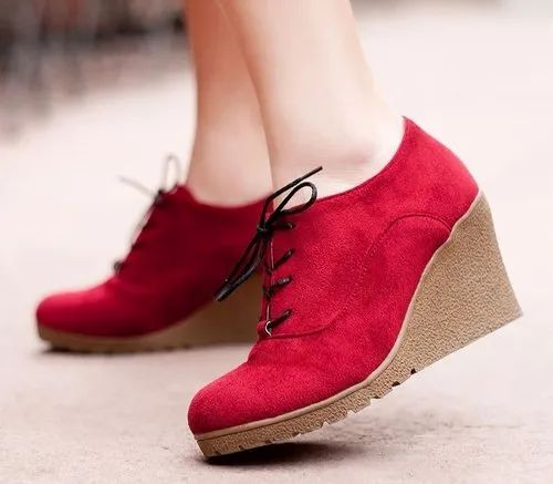 Women Stylish Red Wedge Shoes, Rs 999