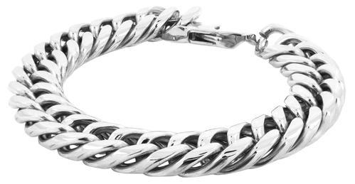 Silver Stainless Steel 316l Clic Curb Rhodium Bracelet Men