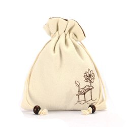 Organic Cotton Pouch With Wooden Beads