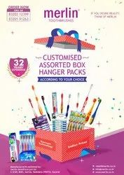 Toothbrush Customized Assorted Box Hanger Packs.