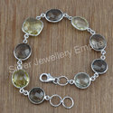 Silver Fashion Jewelry Smoky And Citrine Gemstone Bracelet