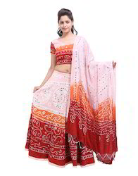 Women's Cotton Cambric Mirror Work Lehenga Choli With Dupatta