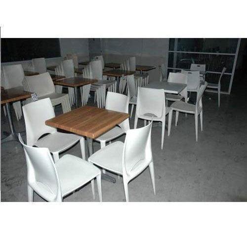 White And Brown Restaurant Dining Table With Chair, Rs