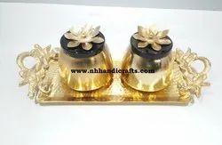 Rectangular N.H.Handicrafts Iron Gold Box & Aluminum Gold Tray, For Household