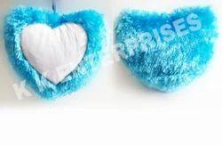 Sublimation Fur Blue Heart Cushion