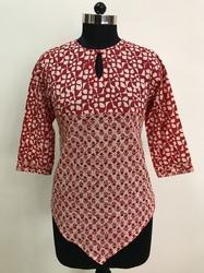 Small Buta Design With Geometrical Design Red Colour Short Top
