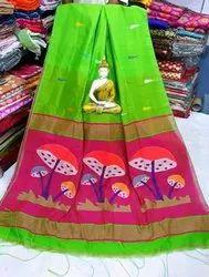 6.3 m (with blouse piece) Pure Khadi silk Hand woven Jamdani work designer sarees