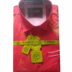 D-Ziree L Mens Red Plain Shirt