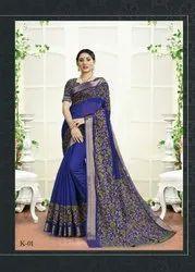 Fancy Border Cotton Saree With Kalamkari Blouse