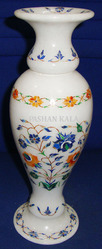 White Marble Flower Vase With Inlay
