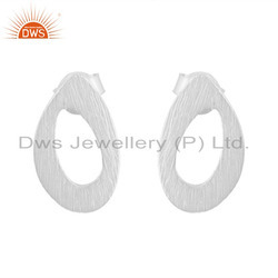 Oval Shape White Rhodium Plated Plain Silver Stud Earrings Jewelry Supplier