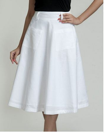 b9a78d9ab0 Linen Cotton Flared Side Button Skirt, Ladies Cotton Skirts ...