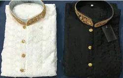 White Black Cotton Kurta Pajama