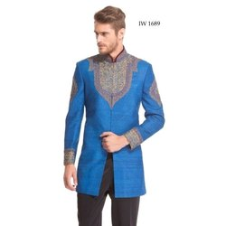 Diwan Saheb IW-1689 Mens Turquoise Blue Embroidered Indo Western