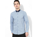 Printed Sky Blue Full Sleeve Men Casual Cotton Shirt