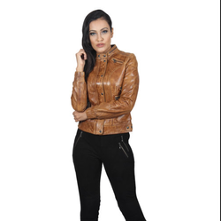 Brown Ladies Biker Leather Jacket