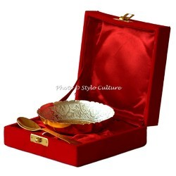 Wedding Gifts - Brass Gold Plated Bowl Set With Spoon