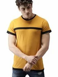 Plain Cotton Men Mustard Yellow Solid Round Neck T-Shirt