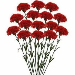 Red And Green Artificial Single Carnation Flower Stick, Packaging Type: Packet