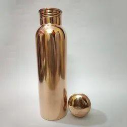 Polished Plain Copper Water Bottle, Screw Cap