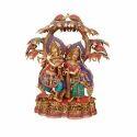 Brass Radha Krishna With Tree Statue