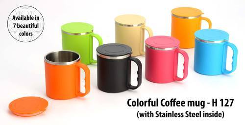 Colorful Coffee Mug With Stainless Steel Inside Cover