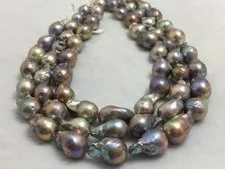 Freshwater Pearl Baroque Shape Grey Brown Color Beads Size 14-15 Mm Pearl String