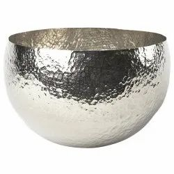 Deco Home Collection Silver Aluminium Bowl, Packaging Type: Box