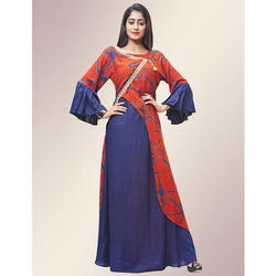 Orange and Blue Rayon Printed Floor Length Gown, Size: M-XXL