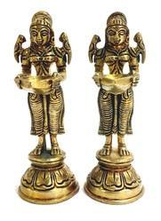 Lady 6inch Welcome Diyas Pair HD00128, For Decaration, Finish Type: Antique Brass