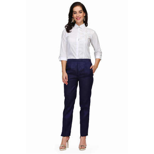fd24af0692dba Pret A Porter Navy Blue   White Ladies White Shirt With Silk Trouser ...