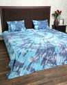 Cotton Tie Dyed Navy Blue & White Double Bed Sheet