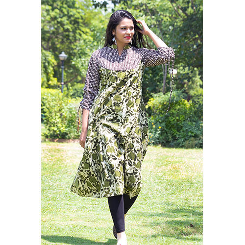 c6de55eafd Cotton 3/4th Sleeve Straight Printed Kurti, Size: XL, Rs 340 /piece ...