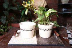 Round Ceramic Black Painted Planter