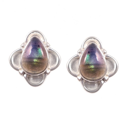 Natural Diamond And Multi Color Tourmaline Gemstone Silver Stud Earrings,Handmade Diamond Pave Stud Earring,925 Sterling Silver Stud