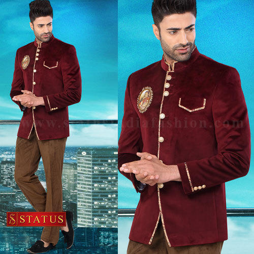 5aada41487 Maroon Colour Designer Jodhpuri Suit at Rs 10270 /piece | Jodhpuri ...