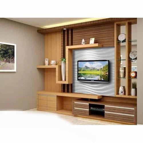 Brown Designer Tv Unit Rs 100000 Unit A R C Interior Id