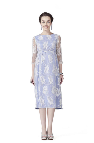 96c816a1428 M And L White   Blue Contrasting Lace Maternity A Line Dress