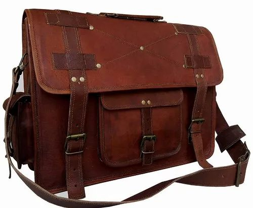 bf3dba3956 Brown Solid Leather Messenger Bag
