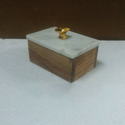 Wood and Marble Boxes with Metal Knob