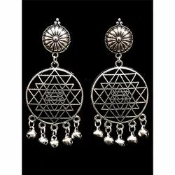 Oxidized Round Silver Coated Earring
