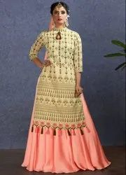 Cream And Peach Lehenga Kameez